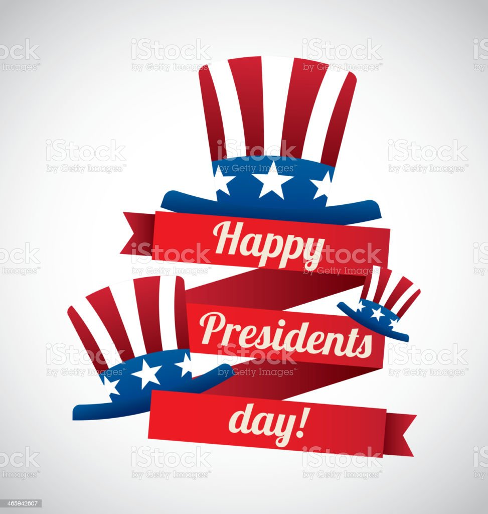 Presidents' Day design with three American flag top hats vector art illustration