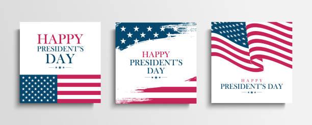 USA President's Day greeting cards set with United States national flag. Washington's birthday. United States national holiday. vector art illustration