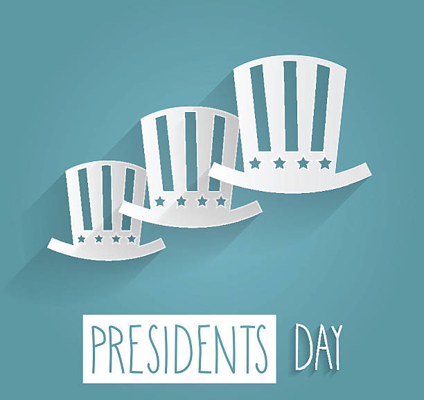 presidents day. handwritten text on blue background - presidents day stock illustrations, clip art, cartoons, & icons