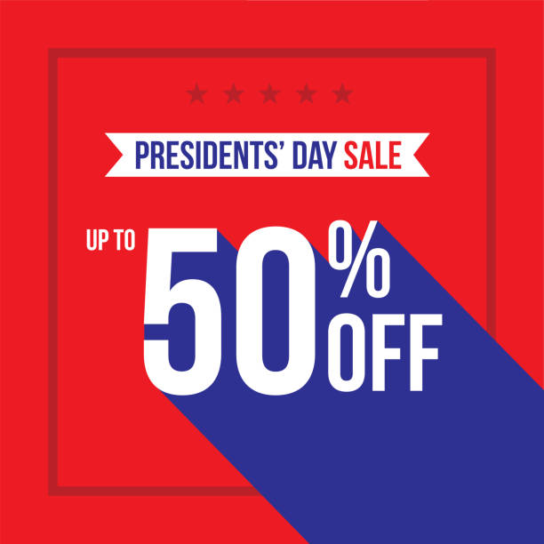 presidents' day holiday up to 50% off sale advertisement square template vector illustration - presidents day stock illustrations, clip art, cartoons, & icons