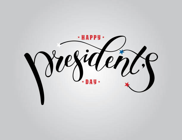 president's day in usa lettering - presidents day stock illustrations, clip art, cartoons, & icons