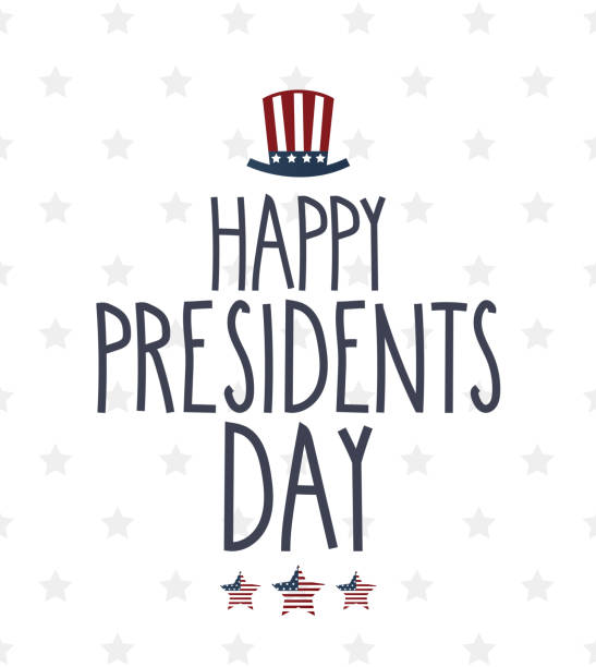 presidents day poster. white background with star pattern. handwritten text. vector illustration. - presidents day stock illustrations, clip art, cartoons, & icons