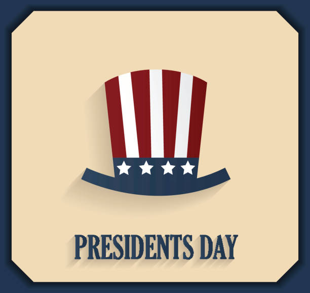 presidents day poster with hat. blue border - presidents day stock illustrations, clip art, cartoons, & icons