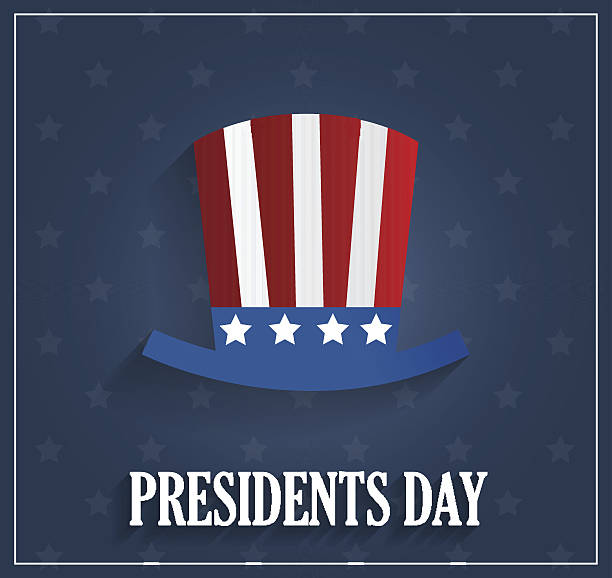presidents day poster with hat on blue background - presidents day stock illustrations, clip art, cartoons, & icons