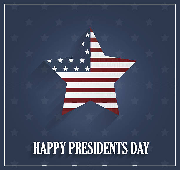 presidents day poster with striped star on blue background - presidents day stock illustrations, clip art, cartoons, & icons