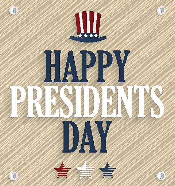 presidents day poster. wooden background - presidents day stock illustrations, clip art, cartoons, & icons