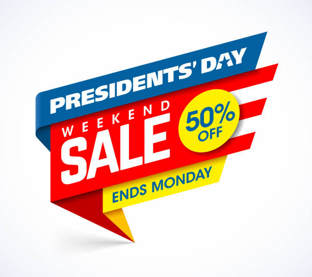 presidents' day sale banner design template - presidents day stock illustrations, clip art, cartoons, & icons