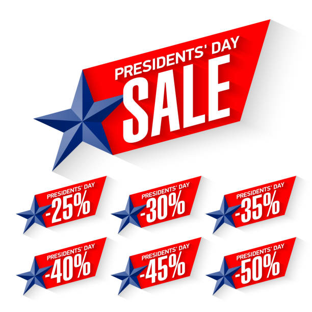 usa presidents' day sale discount labels - presidents day stock illustrations, clip art, cartoons, & icons