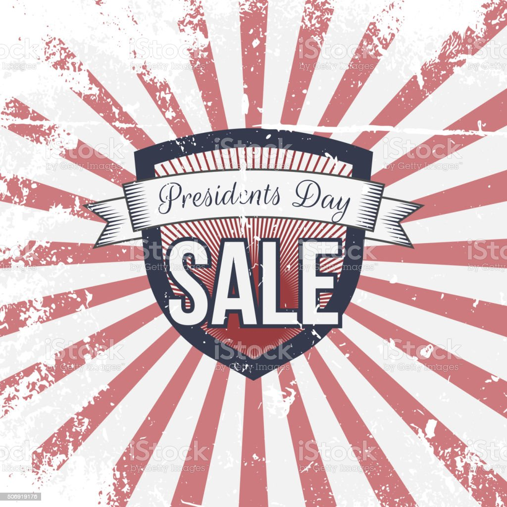 presidents day sale label and ribbon with text stock vector art