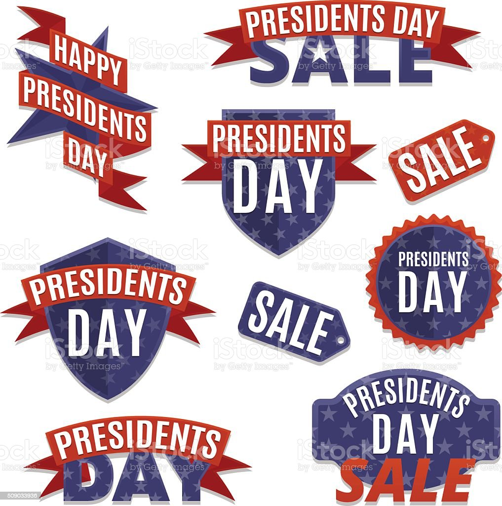 Presidents day set vector art illustration