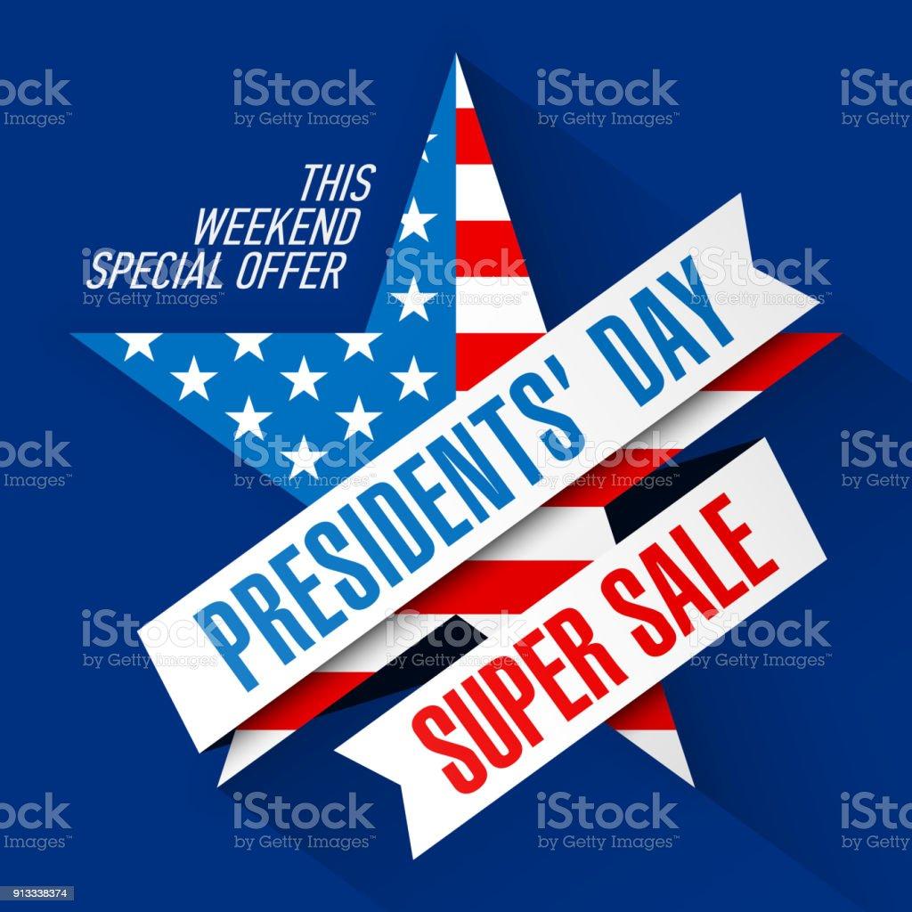 Presidents' Day Super Sale banner design template vector art illustration