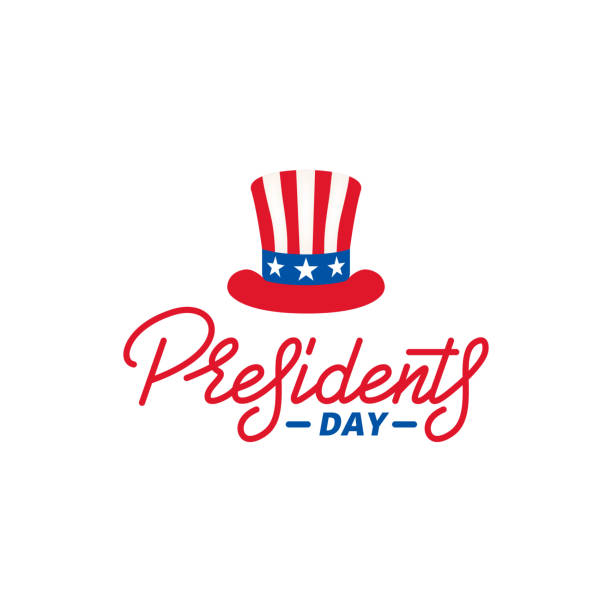 presidents day. typographic lettering logo for usa presidents day celebration - presidents day stock illustrations, clip art, cartoons, & icons