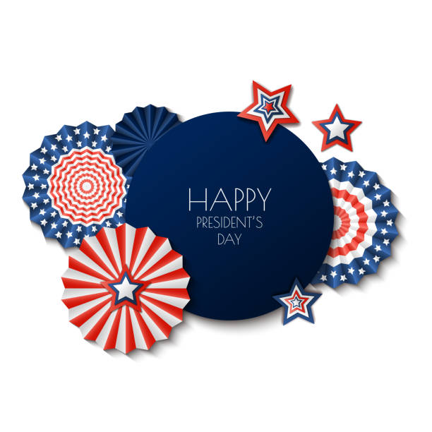 usa presidents day. vector holiday frame isolated on white background. paper stars in usa flag colors. - presidents day stock illustrations, clip art, cartoons, & icons