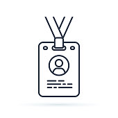 istock Press card outline icon. linear style sign for mobile concept and web design. Id card badge simple line vector icon illustration. 1046027582