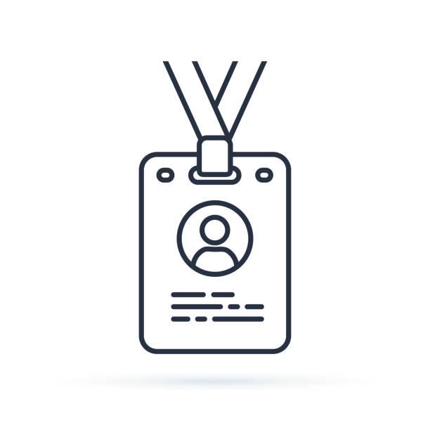 naciśnij ikonę konturu karty. liniowy znak stylu dla koncepcji mobilnej i projektowania stron internetowych. identyfikator odznaka prosta linia wektor ilustracja ikony. - przypinka stock illustrations