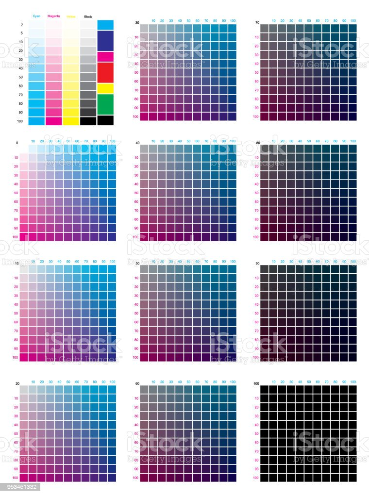 Cmyk Press Color Chart Stock Vector Art More Images Of Artists