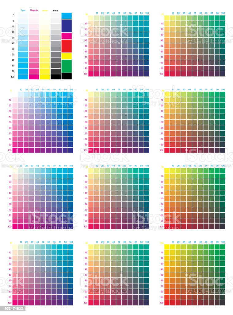 Cmyk Press Color Chart Stock Vector Art & More Images of Artist\'s ...