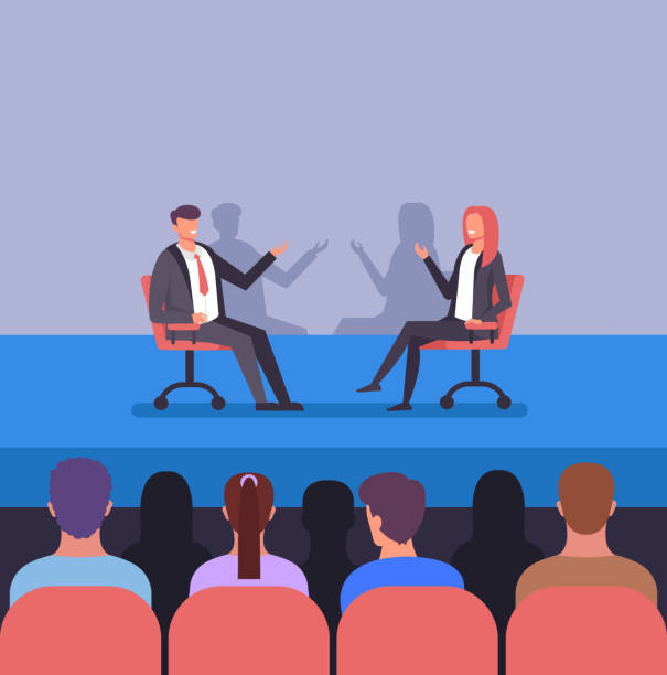 Press conferees business training concept. Two successful people character discussion. Trending class hall vector flat graphic design illustration Press conferees business training concept. Two successful people character discussion. Trending class hall vector flat graphic design debate stock illustrations