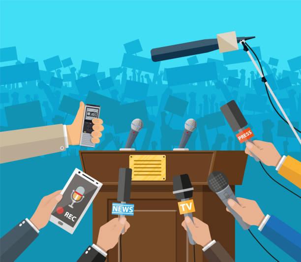 Pressekonferenzkonzept, Nachrichten, Medien, Journalismus. – Vektorgrafik