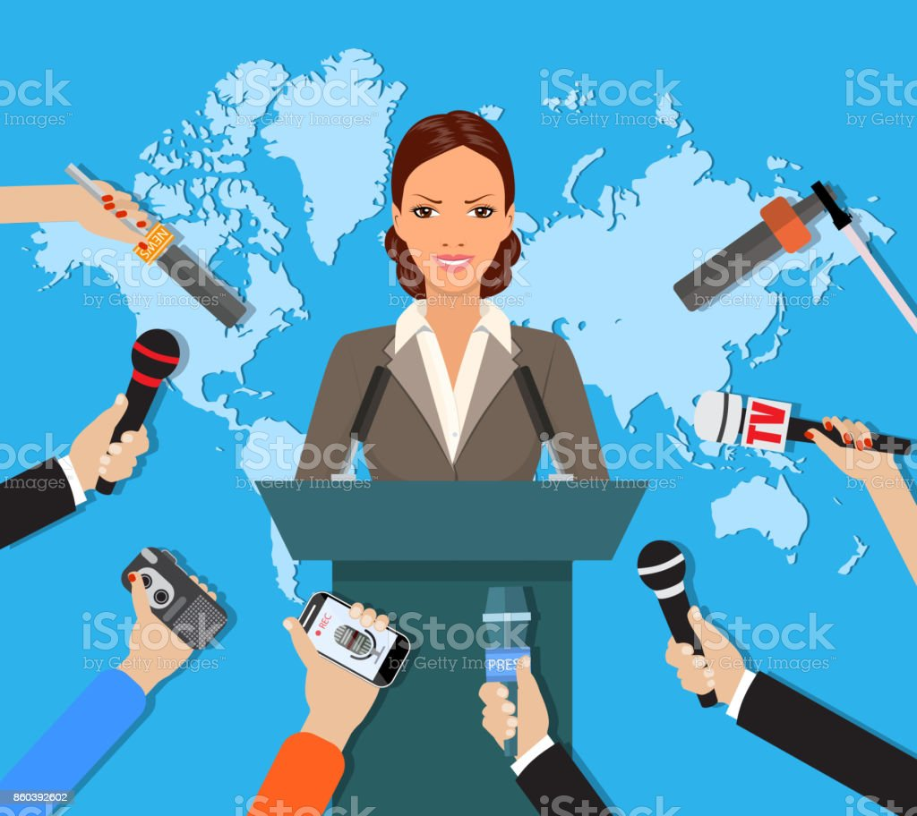 Press conference, world live tv news, interview vector art illustration