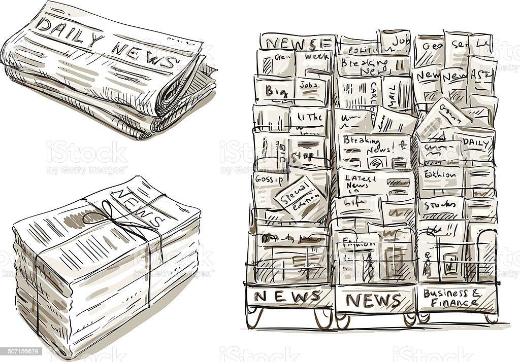 Vetores De Pressione Banca De Jornais Banca De Revistas Desenho à