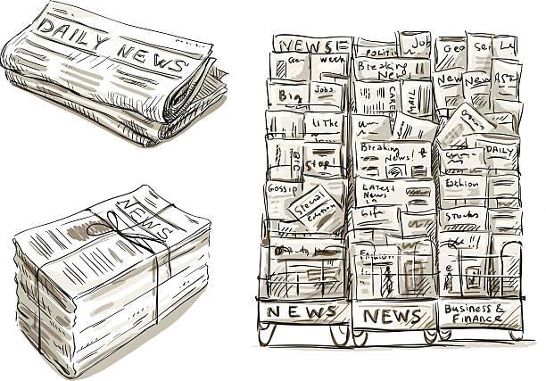 Press. Newspaper stand. Newsstand. Hand drawn. Press. Newspaper stand. Newsstand. Vector illustration EPS 10. Hand drawn. news stand stock illustrations