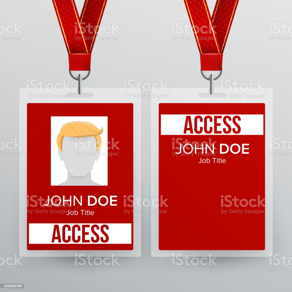 Press Pass Id Card Vector Plastic Badge Template To Business ...