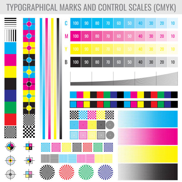 illustrazioni stock, clip art, cartoni animati e icone di tendenza di cmyk press print marks and colour tone gradient bars for printer test vector set - cmyk