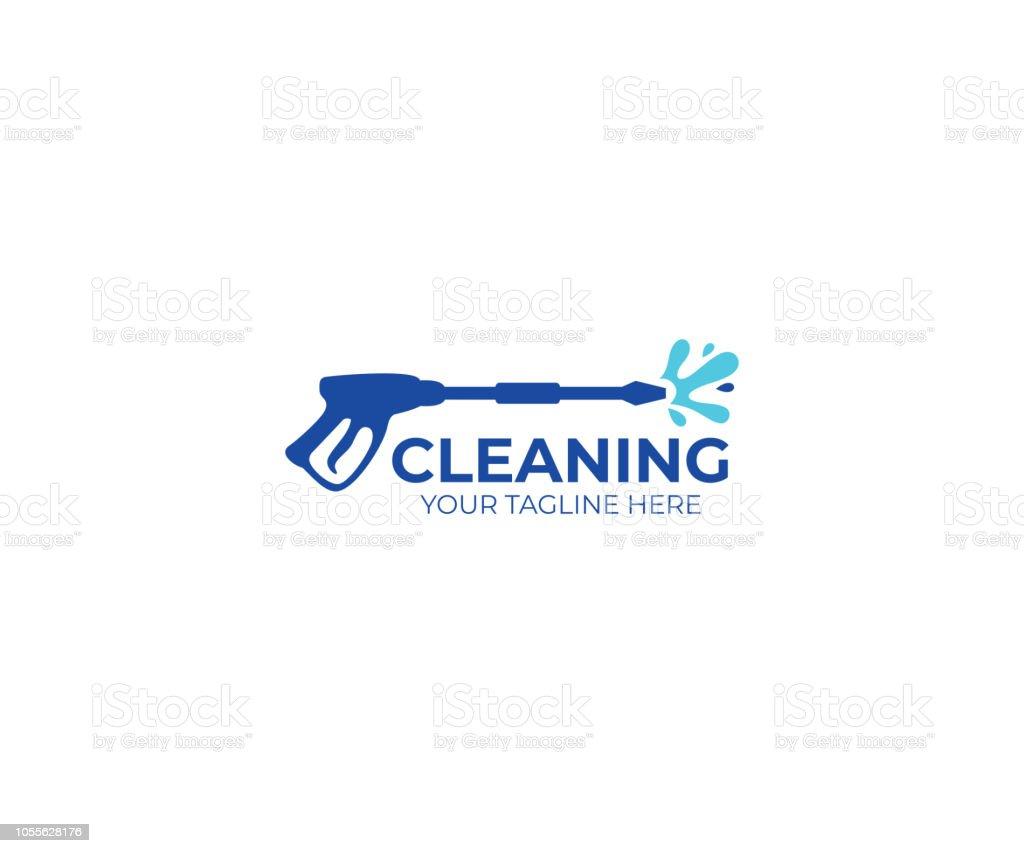 Pressure washing logo design. Cleaning vector design. Tools illustration