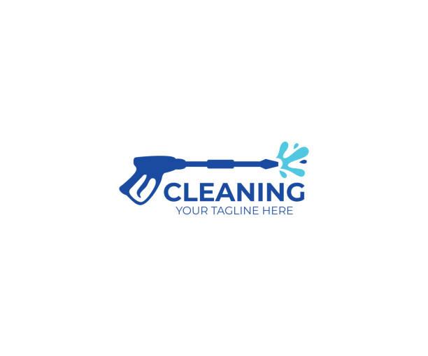 stockillustraties, clipart, cartoons en iconen met druk wassen logo ontwerp. het reinigen van vector design. hulpmiddelen illustratie - energy