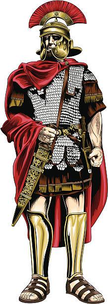 Pretorian soldier vector art illustration