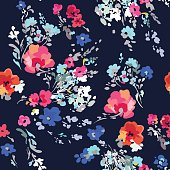 hand drawn abstract floral on navy background