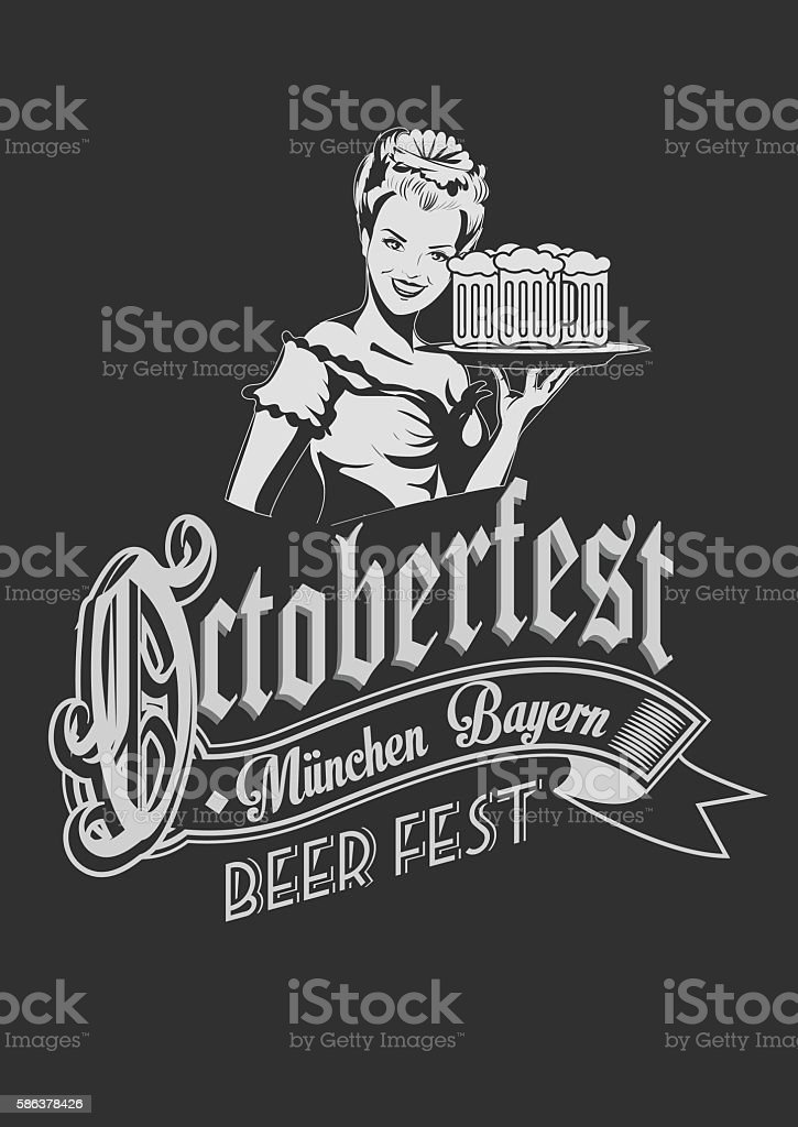 Pretty Bavarian girl with beer. Oktoberfest label ghotic lettering. Ribbon - ilustración de arte vectorial