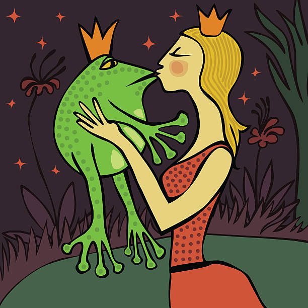 pretty blonde princess kissing a frog vector art illustration