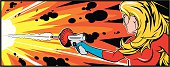 Pop art pretty blonde woman blowing something away with her ray gun.