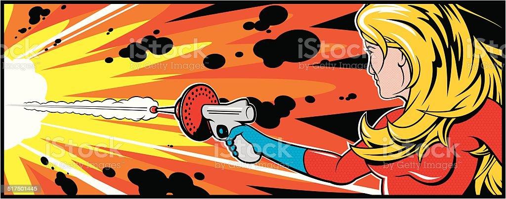 Pretty Blonde Woman With Gun vector art illustration