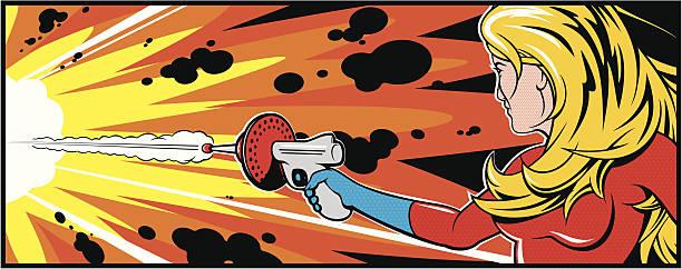 pretty blonde woman with gun - retro comics stock illustrations, clip art, cartoons, & icons