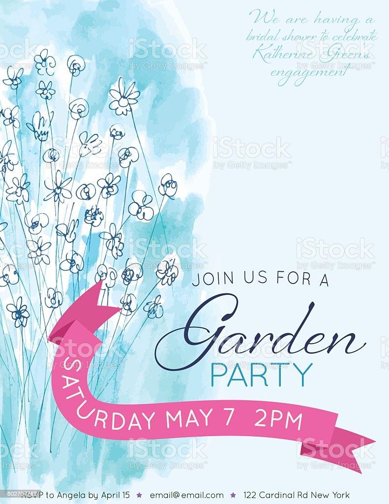 Pretty Blue Watercolor Flowers Garden Party Invitation Template vector art illustration