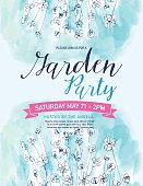 Blue Watercolor Garden Party Invitation Template. There are watercolour wildflowers. There is a room for text. Ideal for bridal or baby showers,wedding invitations, garden party or tea parties. Soft feminine colors.