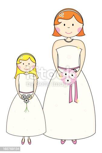 istock Pretty Bridesmaid Character Icons 165769134