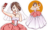 Pretty cartoon bride taking selfie. Girl with brown hair wearing wedding dress and veil. Hand drawn vector illustration isolated. Can be used for t-shirt template, children mobile games, books, cards.