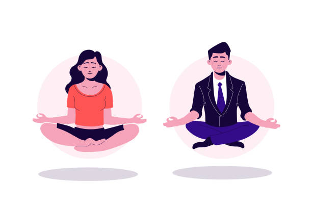 Pretty cartoon yogi woman and business man sitting in lotus position with closed eyes