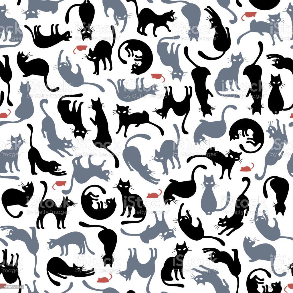 예쁜 고양이 패턴, - 로열티 프리 고양이 새끼 벡터 아트