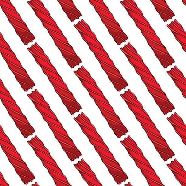 illustrazioni stock, clip art, cartoni animati e icone di tendenza di pretty colorful seamless pattern made of hand drawn licorice candies. - liquirizia