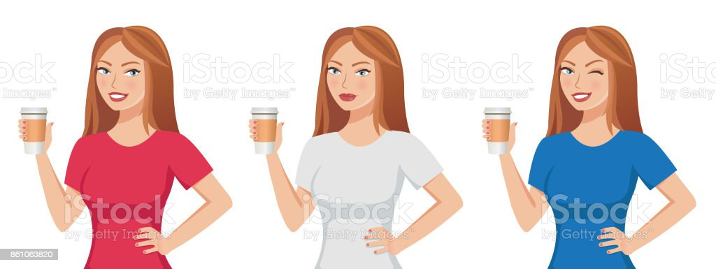 Pretty cute brown-haired girl holding a paper coffee cup template isolated on white background. vector art illustration