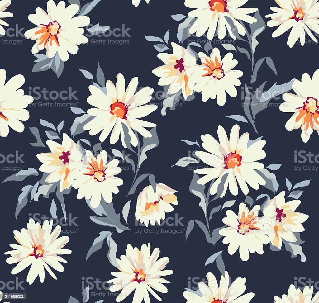 pretty daisy floral print ~ seamless background vector art illustration