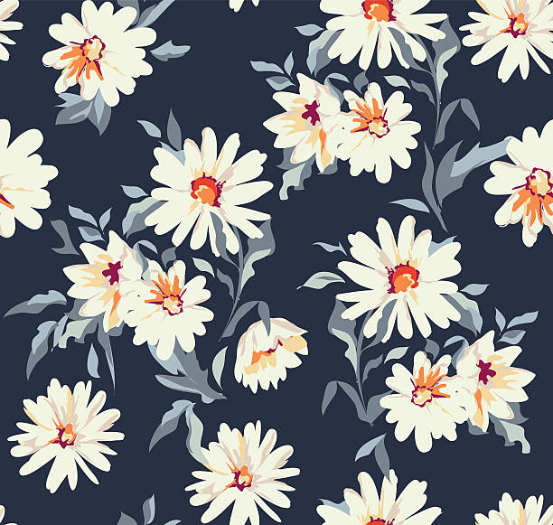 pretty daisy floral print ~ seamless background Wild Daisies, Floral vector seamless print daisy stock illustrations