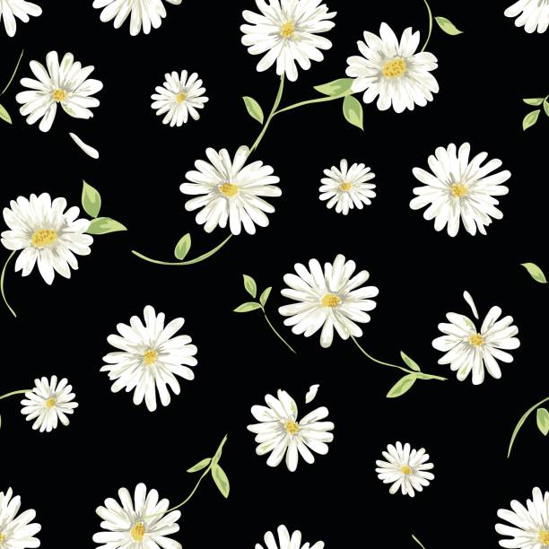 Pretty daisy seamless background classic floral print daisy stock illustrations