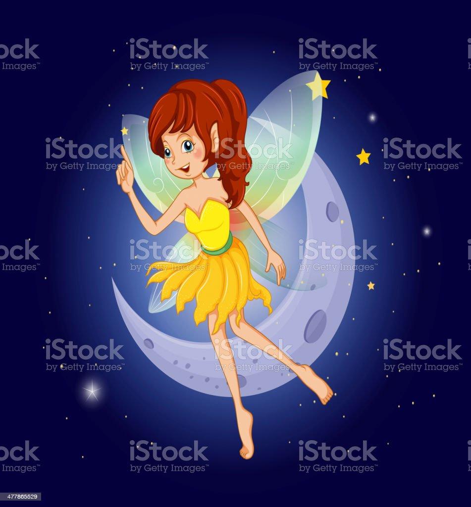 Pretty fairy at sky near the moon royalty-free stock vector art