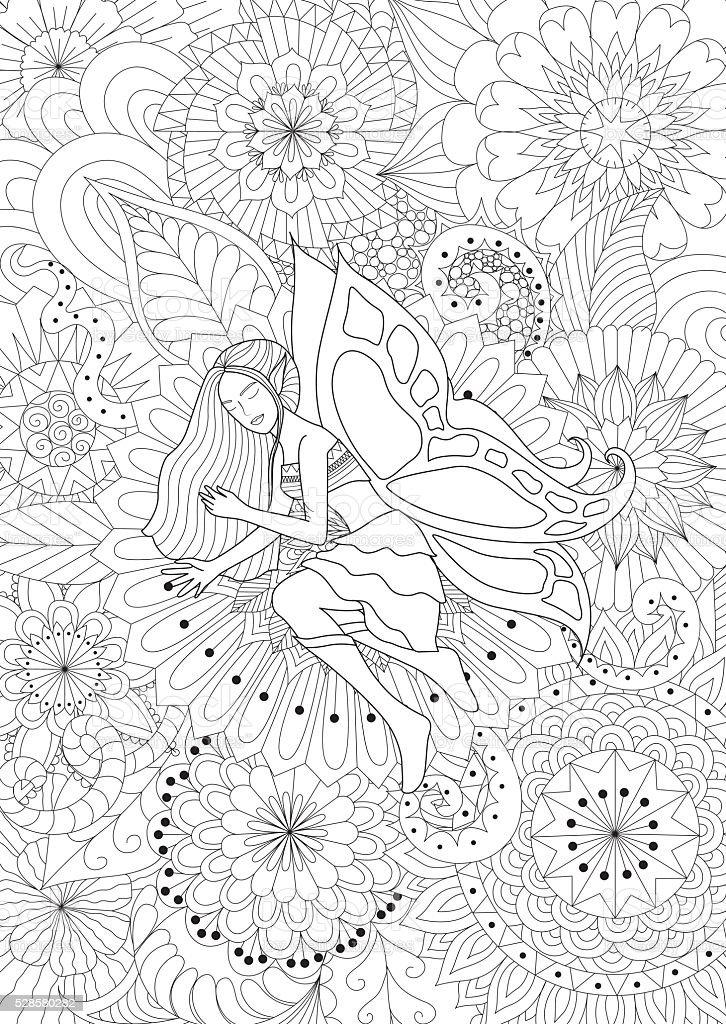 Ilustración de Bonita Hadas De Dormir En Flores Para Colorear Libro ...